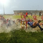 Sligo Rovers players celebrate on the rain soaked pitch at the end of the game.<span class=