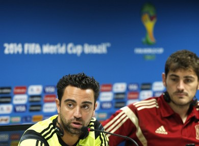 Xavi speaking at yesterday's press conference.