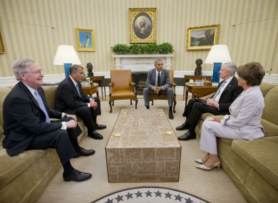 Obama debates options in the Oval Office.
