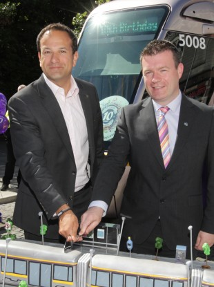 Leo Varadkar and Alan Kelly at an event celebrating 10 years of the Luas today