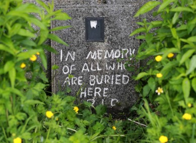 A memorial stone near the Tuam home where it is believed the bodies of children lie.