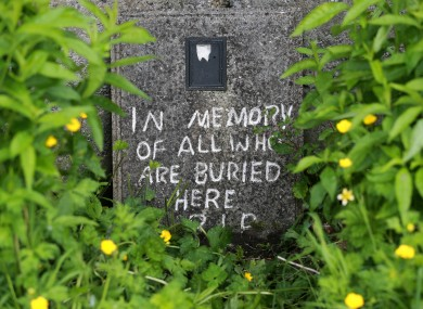 A memorial stone at the mother-and-baby home in Tuam.