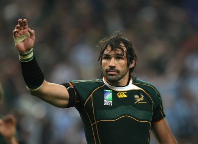 Matfield salutes Springbok fans after that 2007 World Cup success.