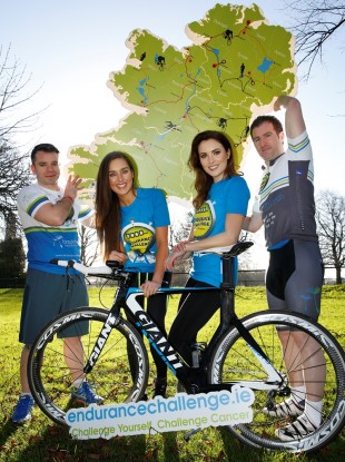 Sean Buckley and James Colbert promoting their event with models Roz Purcell and Holly Carpenter.