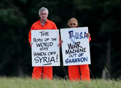 Niall Farrell and Margaretta D'arcy in an earlier protest in 2012.