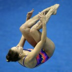 Second placed Kristina Ilinykh from Russia performs during the women's 1m springboard diving final at the LEN Swimming European Championships in Berlin, Germany.<span class=