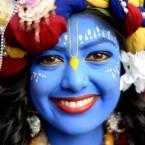 Laxmipriya Patel, 21, from Watford dressed as Lord Krishna at the Bhaktivedanta Manor Hare Krishna Temple in Watford during the Janmashtami Festival.<span class=