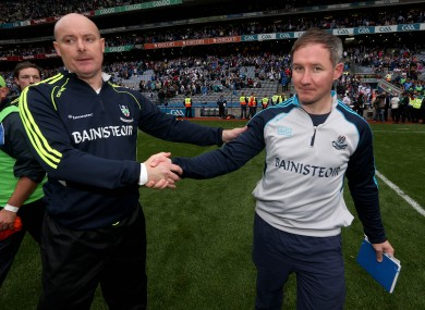 Jim Gavin with Malachy O'Rourke after the game.