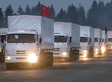 The convoy of white trucks with humanitarian aid leaves Alabino, outside Moscow.