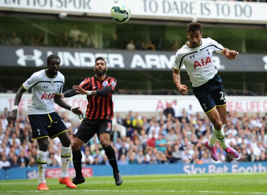 Tottenham Hotspur's Nacer Chadli heads his side's third goal of the game against Queens Park Rangers.