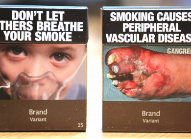 Examples of Ireland's plain packaging.