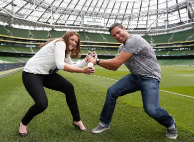 Women's rugby hero Fiona Coghlan with Kenny Egan, urging you to get your nominations in for People of the Year.