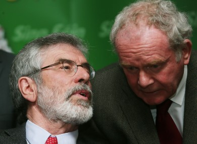 Sinn Fein Leader Gerry Adams with Martin McGuinness.