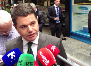 Paschal Donohoe in Dublin this afternoon.
