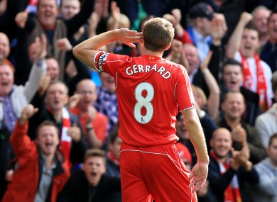 Liverpool's Steven Gerrard celebrates scoring his side's goal during the Merseyside Derby.
