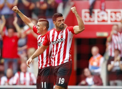 Southampton's Graziano Pelle (right) celebrates his goal.