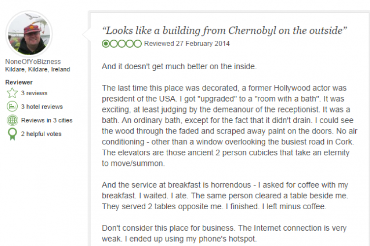 Cork hotel receives painful TripAdvisor review, manager's