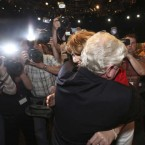 Joan Burton hugs the Former Leader Eamon Gilmore after being elected new leader of the Labour Party.