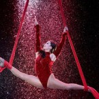 Performer Wang Dan performs a high curtin act as Fossetts Circus celebrates its 125th Birthday.