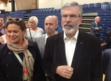 Mary Lou McDonald, Cathal King and Gerry Adams in Tallaght today