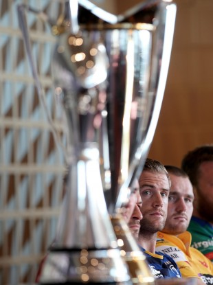 Leinster captain Jamie Heaslip and Scarlets skipper Ken Owens at yesterday's EPCR launch.