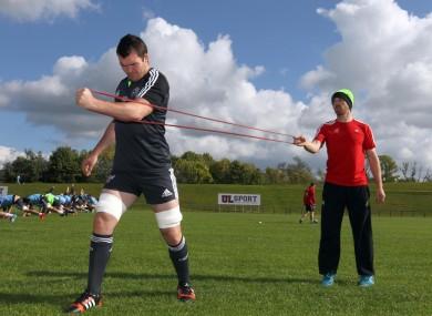 O'Mahony at Munster training this. week.