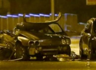 The scene of the crash last night.