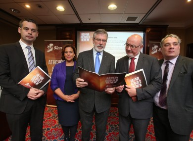 Sinn Féin launching its pre-Budget submission at a Dublin hotel this week.