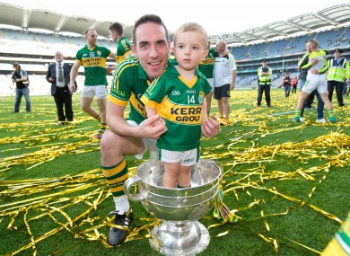 Declan O'Sullivna with son Ollie after the All-Ireland final last September.