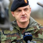 Kildare native Colonel Howard Berney briefs members of the International media at Hagshult Airbase, Sweden, as part of Exercise Joint Action<span class=