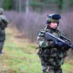 Cork native Company Quarter Master Sergeant Brendan Fahy on tactical manoeuvre in Hagshult, Sweden<span class=