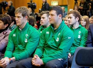 Ireland internationals Andrew Trimble, Jordi Murphy, Robbie Henshaw and Paddy Jackson at this morning's launch.