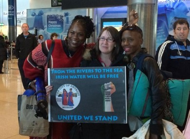 Detroit volunteer group are greeted at Dublin Airport on Sunday