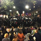 This photo provided by Gabriel Reyes shows the protest in Berkeley.<span class=