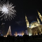 New Year's celebrations at midnight in downtown Beirut, Lebanon.<span class=
