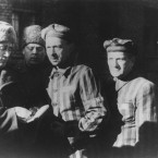 Three Auschwitz prisoners, right, talk with Soviet soldiers after the Nazi concentration camp Auschwitz.<span class=