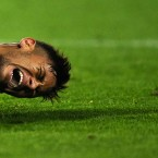 Neymar reacts to a challenge during Barcelona's Copa del Rey clash with Elche.<span class=