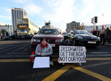 Water protesters on O'Connell Bridge on Thursday