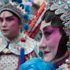 Participants in the Chinese New Year Parade and Celebrations in central London, marking the start of the Year of the Goat.<span class=