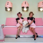 Charlotte Geraghty, Moomin and Josie Hall enjoy a preview of Benefit Cosmetics new curl and cocktail parlour, Curls Best Friend.<span class=