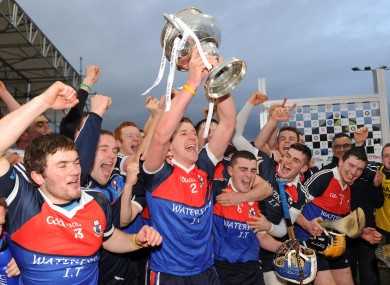 Waterford IT's Eoin Murphy lifts the Fitzgibbon Cup after last year's win against Cork IT.