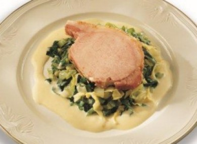 Traditional bacon and cabbage with mustard sauce.