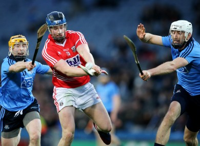 Cork's Conor Lehane under pressure from Dublin's Ben Quinn and Peter Kelly.