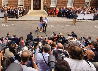 Press outside the hospital after the birth of Prince George.