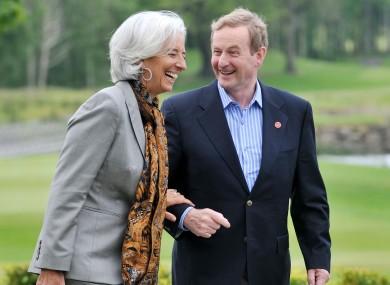 Taoiseach Enda Kenny and IMF managing director Christine Lagarde
