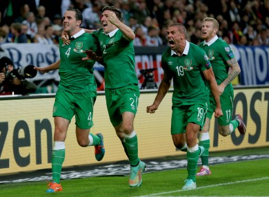 Nominees John O'Shea and (right) Jon Walters celebrate the equalising goal against Germany.