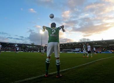 Cork's John Kavanagh takes a throw-in last night.