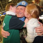 Commandant Owen McNally from Kildare and his daughter Tara (6) and son Ciaran (9).<span class=