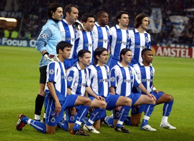 The FC Porto team pictured ahead of their Champions League clash with Man United in 2004.