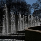 Visitors look at the fountains in Alnwick Garden in Northumberland, as Britain is set to bask in sunshine today with temperatures expected to equal the holiday resort of Ibiza.<span class=